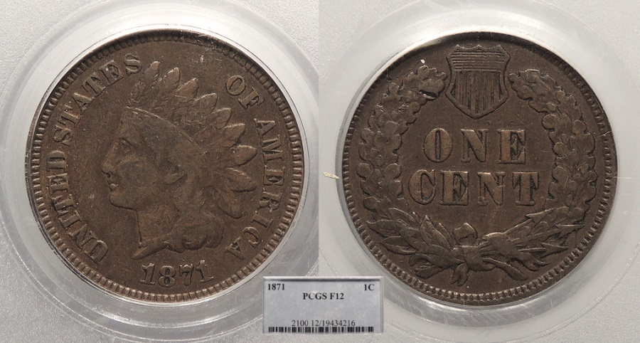 US Coins - 1871 Indian Head 1 Cent PCGS F-12