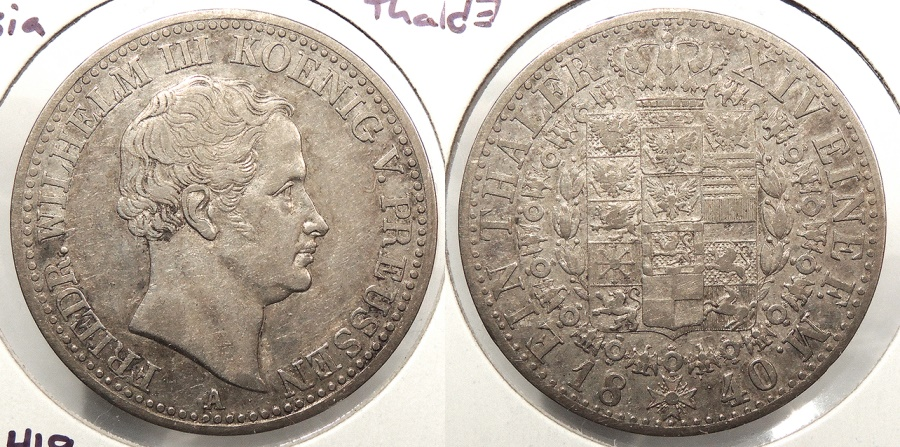 World Coins - GERMAN STATES: Prussia 1840-A Thaler