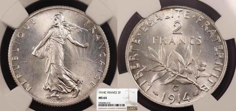 World Coins - FRANCE 1914-C 2 Francs NGC MS-64
