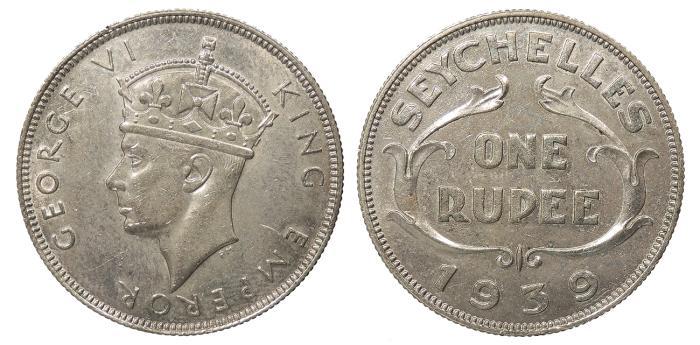 World Coins - SEYCHELLES George VI 1939 Rupee AU