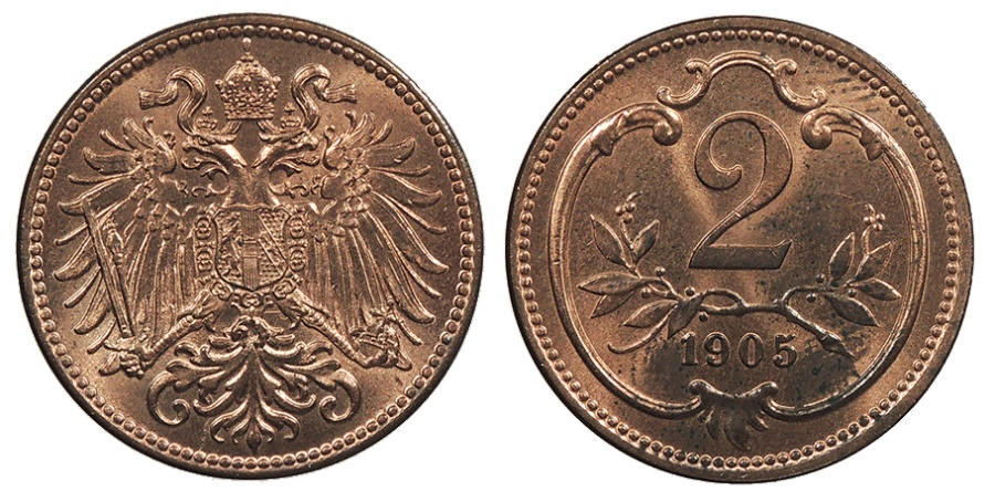 World Coins - AUSTRIA Franz Joseph I 1905 2 Heller UNC