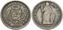 World Coins - PERU: 1858-LIMA MB Transitional pre-decimal coinage 1/2 Real