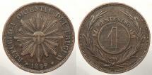 World Coins - URUGUAY: 1869-H Mintage 1,000,000 Centesimo