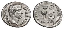 Ancient Coins - Augustus 27 B.C. - 14 A.D. Denarius Rome Mint; moneyer C. Antistius Reginus EF