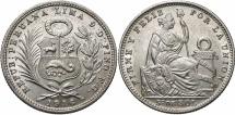 World Coins - PERU: 1916-LIMA FG 1/5 Sol