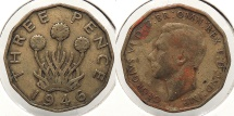 World Coins - GREAT BRITAIN: 1946 Key date 3 Pence