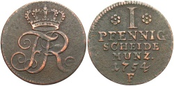 World Coins - GERMAN STATES: Prussia 1754-F 1 Pfennig