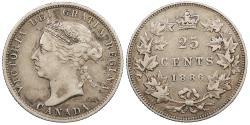 World Coins - CANADA Victoria 1886 25 Cents Good VF