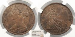 World Coins - GREAT BRITAIN Victoria 1862 Penny NGC MS-63 BN