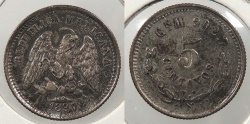 World Coins - MEXICO: 1897-Cn M 5 Centavos