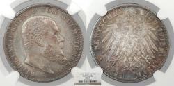 World Coins - GERMAN STATES Wurttemberg Wilhelm II 1912-F 3 Mark NGC MS-63