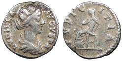 Ancient Coins - Lucilla, wife of Lucius Verus 164-169 A.D. Denarius Rome Mint Good Fine