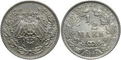 World Coins - GERMANY: 1918-E 1/2 Mark