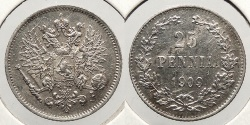 World Coins - FINLAND: 1909 25 Pennia