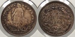 World Coins - SWITZERLAND: 1948-B 1/2 Franc