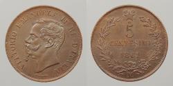 World Coins - ITALY: 1861-M 5 Centesimi