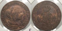 World Coins - SPAIN: 1866-OM 2 1/2 Centimos