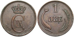 World Coins - DENMARK: 1875 1 Ore