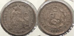 World Coins - PERU: 1866 1/5 Sol