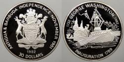 World Coins - ANTIGUA & BARBUDA: 1982 Washington inauguration 1789 30 Dollars