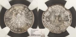World Coins - GERMAN STATES Frankfurt am Main Free City 1866 3 Kreuzer NGC MS-65