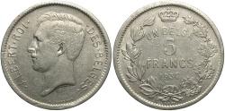 World Coins - BELGIUM: 1934 5 Francs