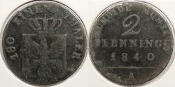 World Coins - GERMAN STATES: Prussia 1840-A 2 Pfenning
