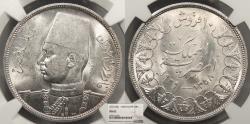 World Coins - EGYPT Farouk 1939/AH 1358 10 Piastres NGC MS-62