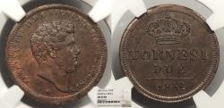 World Coins - ITALIAN STATES Naples & Sicily 1852 2 Tornesi NGC MS-64 BN