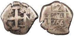 World Coins - BOLIVIA Carlos (Charles) III 1766-(P) V Cob 2 Reales VF