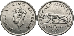 World Coins - INDIA: 1947 1/2 Rupee
