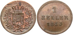 World Coins - GERMAN STATES: Bavaria 1853 1 Heller