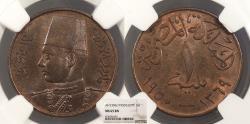 World Coins - EGYPT Farouk 1950 / AH 1369 Millieme NGC MS-65 BN