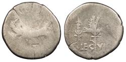 Ancient Coins - Marc Antony 43-31 B.C. Denarius Military Mint moving with Marc Antony About Fine
