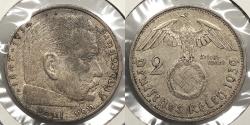 World Coins - GERMANY: 1939-A Hindenburg 2 Reichsmark