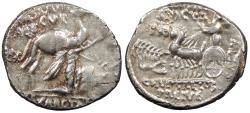 Ancient Coins - M. Aemilius Scaurus & Pub. Plautius Hypsaeus 58 B.C. Denarius Rome Mint EF