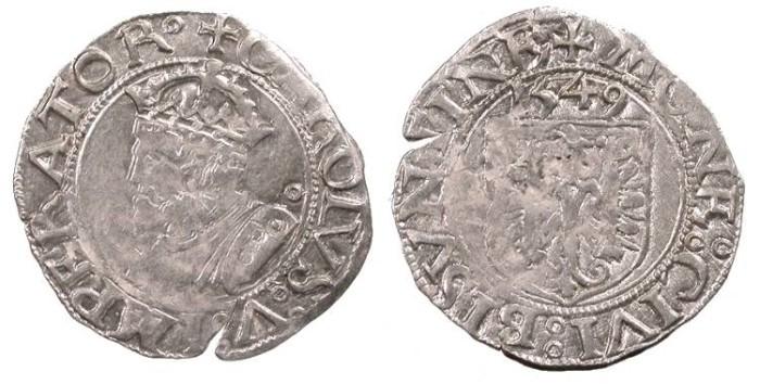 World Coins - FRANCE Besançon Charles V, as Holy Roman Emperor 1530-1556 Blanc 1549 EF
