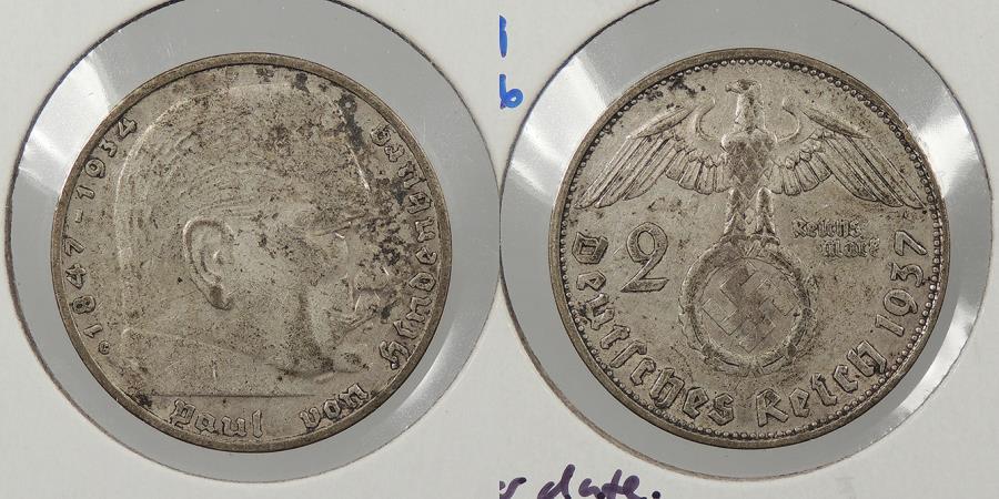 World Coins - GERMANY: 1937-G Hindenburg. 2 Mark