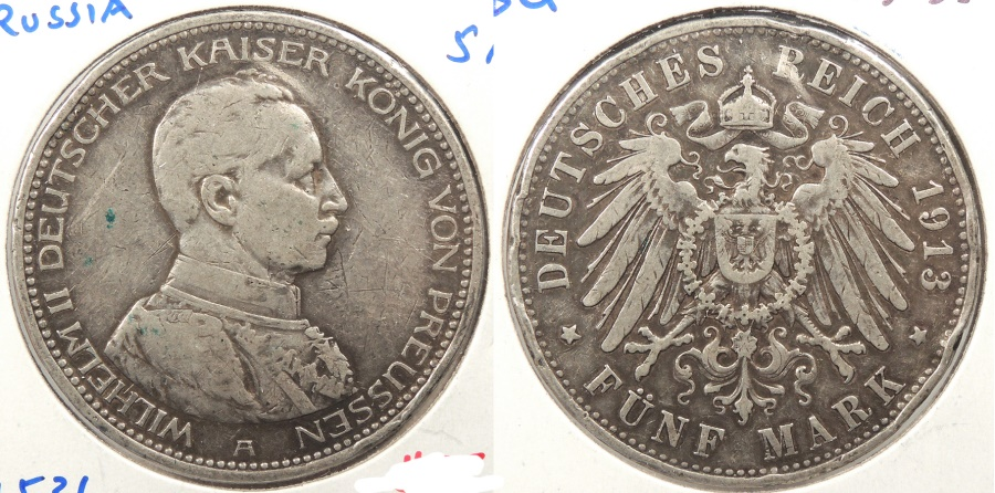 World Coins - GERMAN STATES: Prussia 1913-A 5 Mark