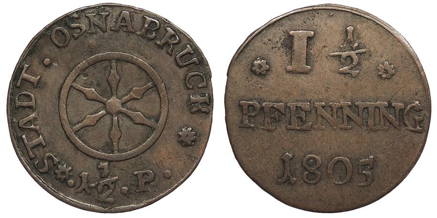 World Coins - GERMAN STATES Osnabruck City of Osnabrueck 1805 1 1/2 Pfennig Near EF