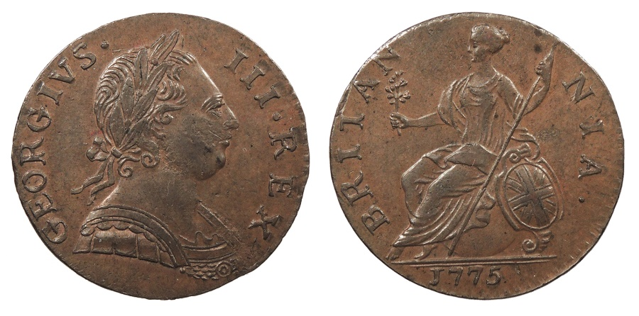 World Coins - GREAT BRITAIN George III 1775 Halfpenny Choice AU