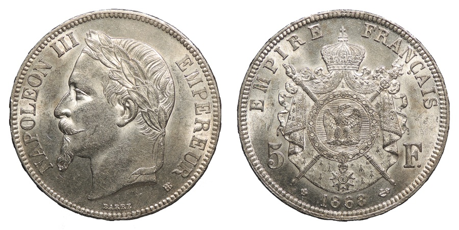 World Coins - FRANCE Napoleon III as Emperor 1868-BB 5 Francs UNC
