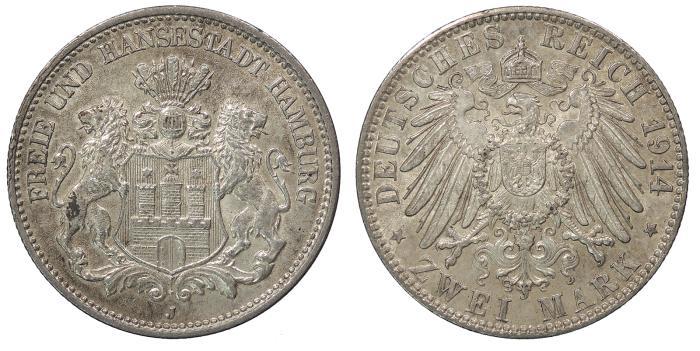 World Coins - GERMAN STATES Hamburg Free City 1914-J 2 Mark UNC