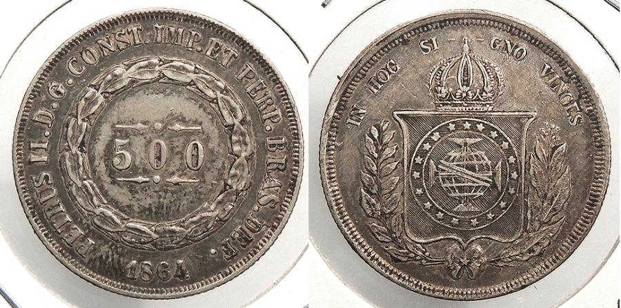 World Coins - BRAZIL: 1864 500 Reis