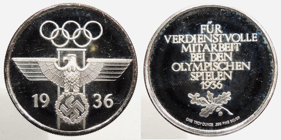 World Coins - GERMANY: Modern Modern Nazi 1936 Olympics silver proof round 1 oz Round