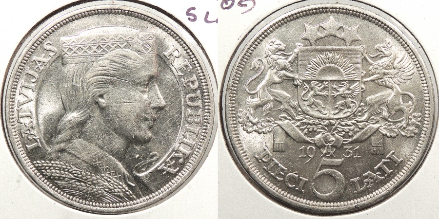 World Coins - LATVIA: 1935 5 Lati