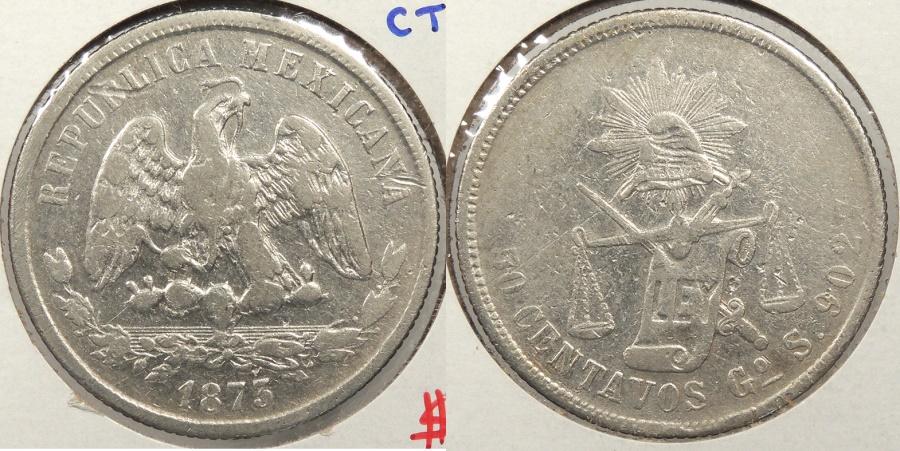 World Coins - MEXICO: 1873-Go S 50 Centavos