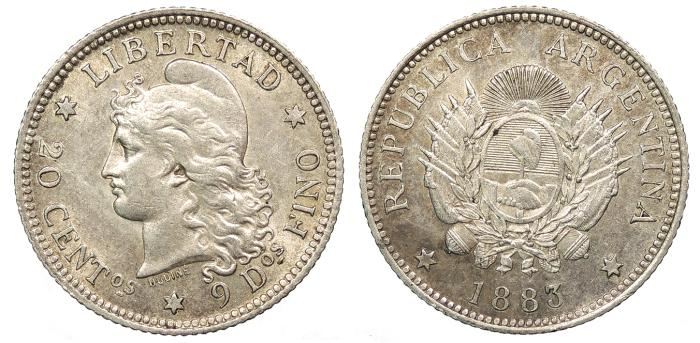 World Coins - ARGENTINA Republic 1883 20 Centavos AU