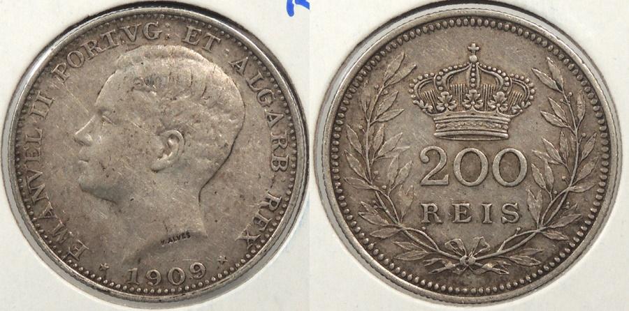 World Coins - PORTUGAL: 1909 200 Reis