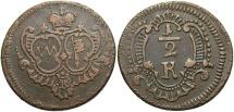 World Coins - GERMAN STATES: Wurzburg ND (1762) 1/2 Kreuzer